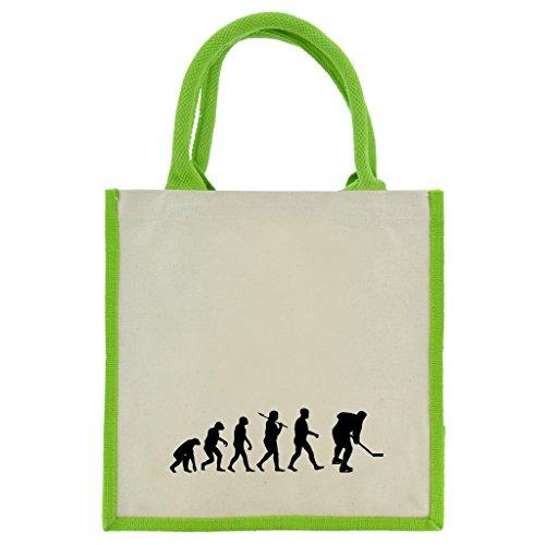 Evolution of Ice Hockey in schwarz Druck auf Jute Midi Einkaufstasche mit Grün Griffe und Besatz