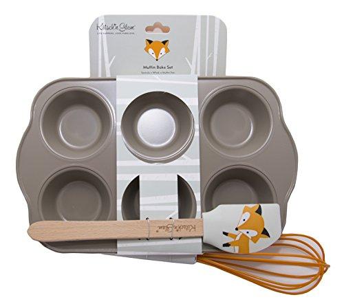 3-Piece Muffin Bake Set, Fox Theme (Orange), by Kitsch'n Glam
