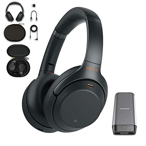 Sony WH-1000XM3 Wireless Noise Canceling Over Ear Headphones with voice assistant, Black (WH-1000XM3/B) with 20,000mAh High Capacity Portable Power - Lighter Hi Res