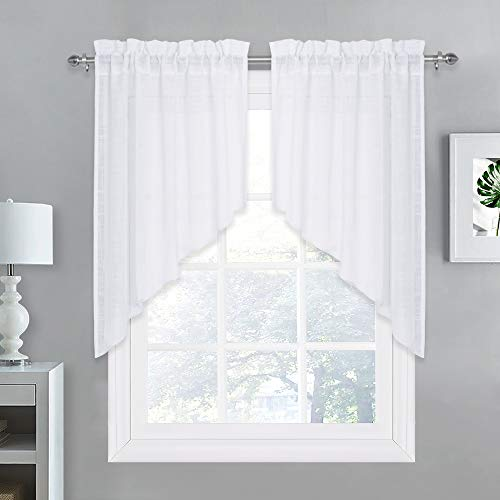 - NICETOWN Small Window Curtains Valances and Swags, Home Decor Valance Solid Color Rod Pocket Faux Linen Textured Swags for Small Window (Set of 2 Pieces, 36
