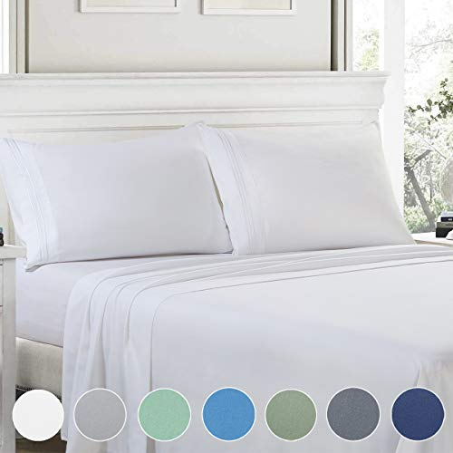Bed Sheets Set King,4 Piece 1800 Series Premium Brushed Microfiber Bed Sheets, 1INCH,Breathable Cooling Comfy Super Soft Bedding with Deep Pocket for Toddler Room,Guest Room,Hotel,RV (White,King)