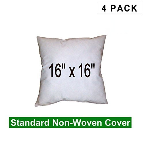 Pillow Insert 16 x 16 100% Polyester Fill Standard Shell Square (4 Pack)