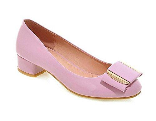 XIE Zapatos de Metal Corte Redondo Dedo del pie Grueso con Zapatos de Tacón bajo Solo, 36 1003CM0356CM-39