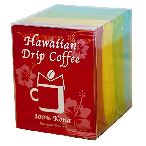 Hawaiian Drip Coffee Assorted 16 pouch 100% (Kona, Kau, Wailua, Kauai) Coffee 16 single serve pouches, 0.25oz per pouch, pour over drip coffee 16