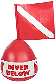 Diving Float, PVC Inflatable Professional Buoy Float Ball with Dive Flag for Outdoor Diving Swim
