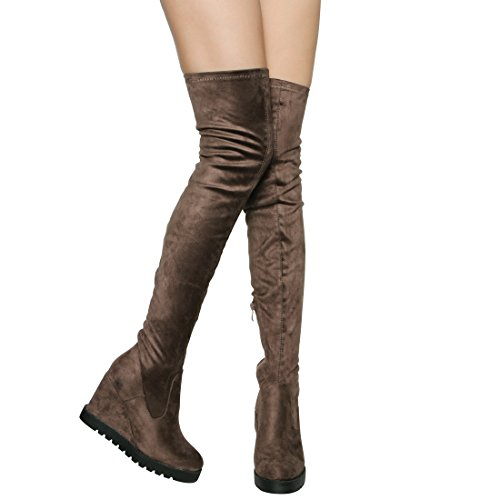Beston EJ06 Frauen Stretchy Snug Fit Plattform Side Zip Oberschenkel hohe Keil Stiefel Taupe