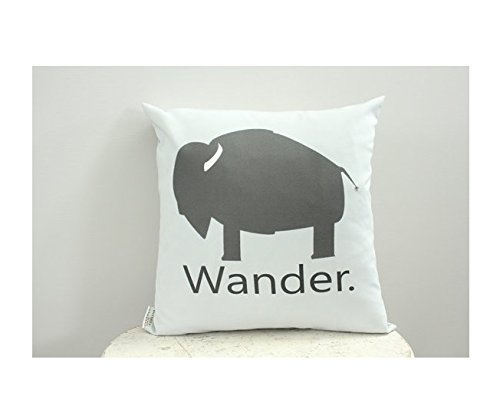 Harley Davidson Baby Bedding (Buffalo wander grey pillow cover 16x16 modern hipster accessory nursery baby gift present zipper canvas ready to ship home décor Gift for Children)