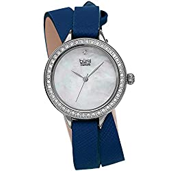 Crystal Studded Bezel Safiano Leather Women's Watch