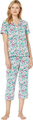 (BedHead Women's Short Sleeve Cropped Pajama Set Into The Jungle)