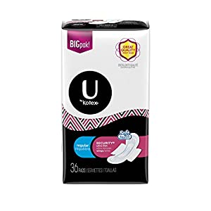 U by Kotex Security Ultra Thin Pads with Wings, Unscented, Regular, 36 Count