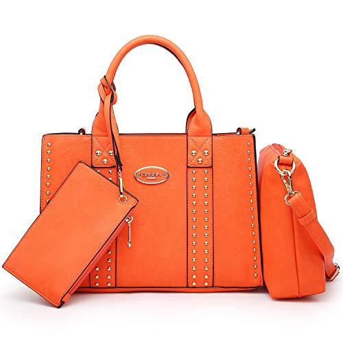 Dasein Designer Tote Purse Satchel Handbag Faux Leather Shoulder Bag Top Handle Bag (0620w 3pcs- Orange)
