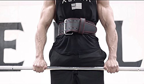 ProFitness Genuine Leather Workout Belt (4 Inches Wide) Proper Weight lifting Form Lower Back Support for Squats, Deadlifts, CrossFit