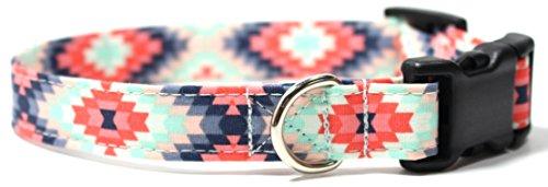 "Aztec Summer Pink and Mint, Designer Cotton Dog Collar, Adjustable Handmade Fabric Collars (S - 3/4"")"