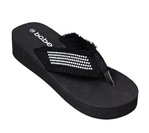 htweight EVA Foam Flip Flops Studded Strap Wedge Thong Sandals- Various Colors (6, Black) (Eva Foam Flip Flops)