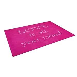 "Kess InHouse Iris Lehnhardt ""Love is All You Need"" Quote Pink Outdoor Floor Mat/Rug, 8 by 8-Feet"