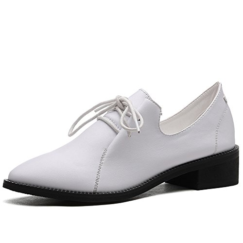 Pu Femenino Dedo Zapatos Del De Puntiagudo Negro Pie La Para Informal Mujeres Talón Oficina Ocio Mujer Grueso Haizhen Carrera Blanco qIwP8F8