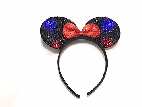 Light Up LED Flashing Mouse Head Ears Headband Costume (Black)