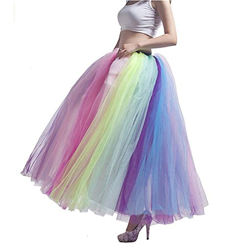 Women's Long Multi-Layer Tulle Rainbow Tutu Petticoat Ankle Length Underskirt Crinoline Slips for Dance Party (Rainbow)