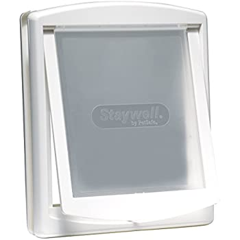PetSafe Original Plastic Pet Door with Hard Transparent Flap, White, Large