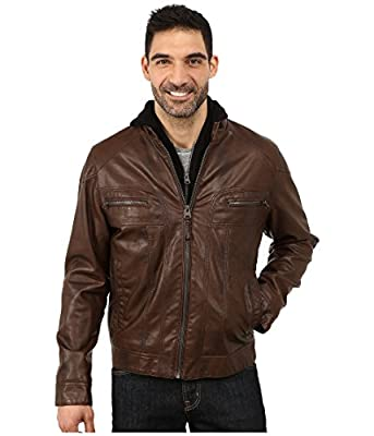 Calvin Klein Men's Faux Leather Hoodie Brown Outerwear 2XL