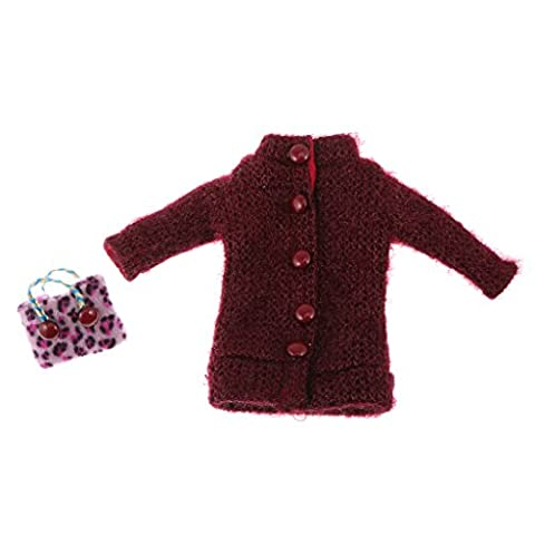 Jili Online Trendy Wine Red Doll Coat and Handbag for 12'' Blythe Dolls Clothes Dress Up - Purse Doll Clothes