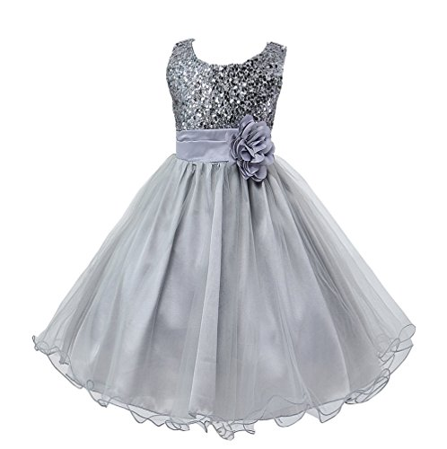 Wocau Little Girls' Sequin Mesh Tull Dress Sleeveless Flower Party Ball Gown (110(3-4 Years), Grey)