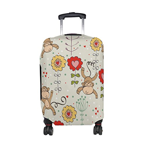 Cute Cartoon Monkey Pattern Print Travel Luggage Protector Baggage Suitcase Cover Fits 18-21 Inch (Sock Monkey Onesie Adults)