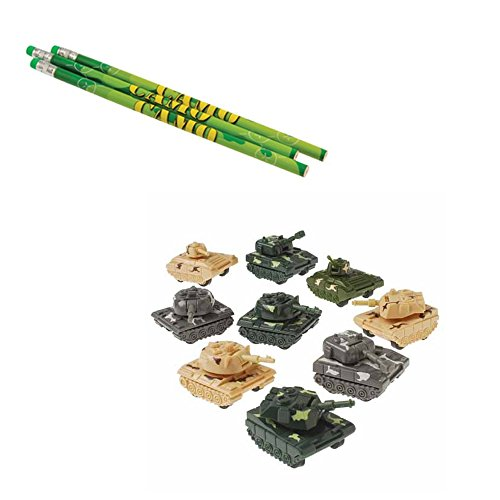 (Pull Back Tanks & Camo Pencils Toy Party Favor Supplies Set for 12 Bundle 24)