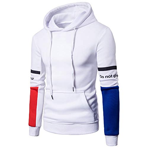 Sunhusing Men Fashion Letter Print Colorblock Long Sleeve Drawstring Pullover Tops Stitching Hooded Sweatshirt -