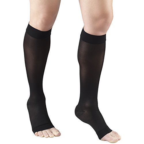 Truform Sheer Compression Stockings, 15-20 mmHg, Women's Knee High Length, Open Toe, 20 Denier, Black, Medium