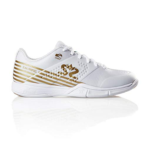 Salming Women's Viper 5 Squash Indoor Court Sports Shoes, White/Gold, 8.5 (Average Shoe Size For 5 5 Woman)