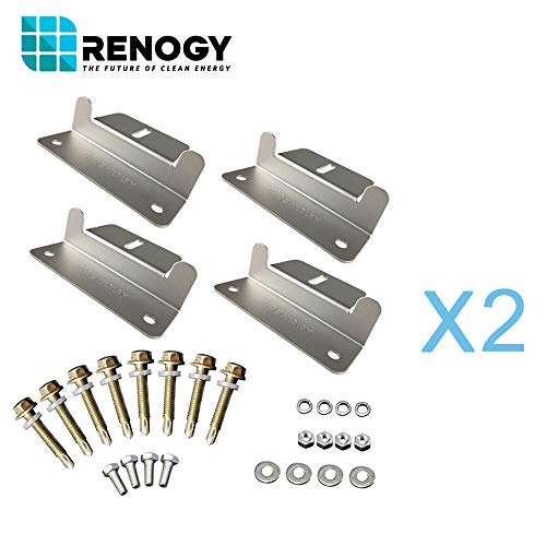 Renogy 2 Sets Solar Panel Mounting Z Bracket Set of 4 Units RV Boat Off Grid Roof - Panel Mounting Hardware