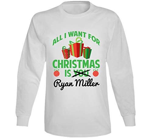 All I Want for Christmas is Ryan Miller Anaheim Hockey Fan Long Sleeve T Shirt S White