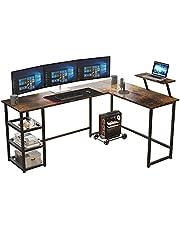 Maxzzz Computer Desk, L Shaped Desk Corner Gaming Desk with Storage Shelves, Multi-Usage Laptop Desk & Home Office Desk Sturdy Gaming Table Workstation Desk with Large Monitor Stand