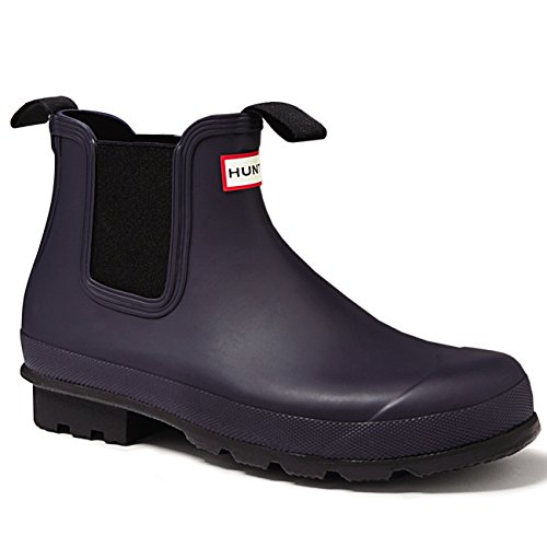 Mens Hunter Original Dark Sole Chelsea Waterproof Wellies Ankle Boots Midnight