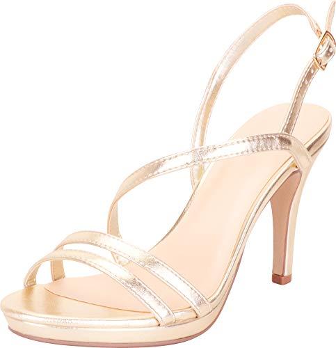 Cambridge Select Women's Open Toe Strappy Slingback Platform Stiletto High Heel Dress Sandal,9 B(M) US,Light Gold PU