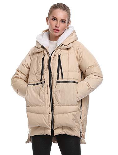 FADSHOW Women's Winter Down Jackets Long Down Coats Warm Parka with Hood,Beige,2XL Down Filled Winter Jackets