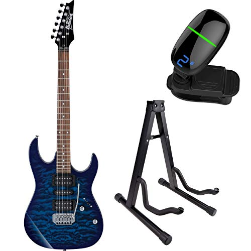 Ibanez GRX70QA GIO RX 6-String Electric Guitar with Front Row Tuner & Stand (Transparent Blue Burst) (Stand Ibanez)