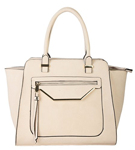 rimen-co-shell-shape-tote-accented-with-front-zippered-pocket-womens-purse-handbag-gs-2993-beige