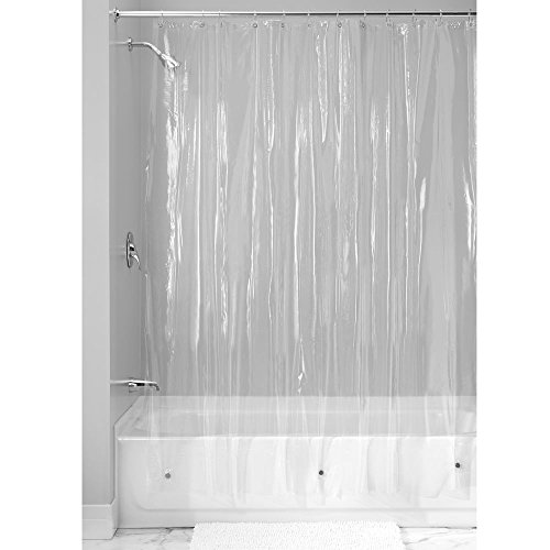iDesign Vinyl Plastic Long Shower Curtain Liner, Mold and Mildew Resistant Plastic Shower Curtain for use Alone or With Fabric Curtain, 72 x 96 Inches, Clear