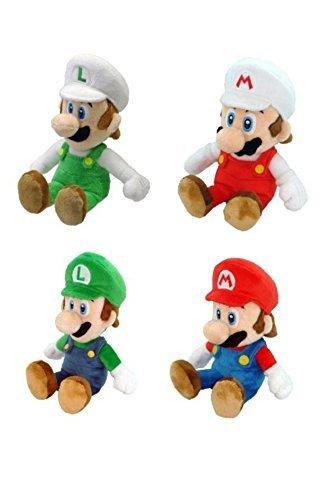 Set of 6 Nintendo Mario Plush Doll: Fire Mario & Fire Luigi & Mario & Luigi & Princess Peach & Wario