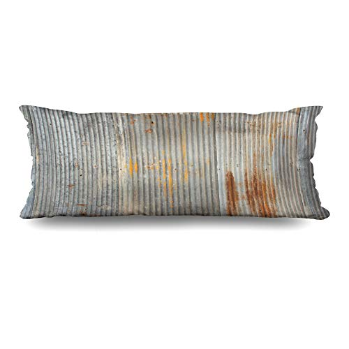 Ahawoso Body Pillows Cover 20x54 Inches Decay Gray Iron Rusty Weathered Looking Piece Corrugated Abstract Old Sheet Rustic Aged Tin Decorative Cushion Case Home Decor Pillowcase