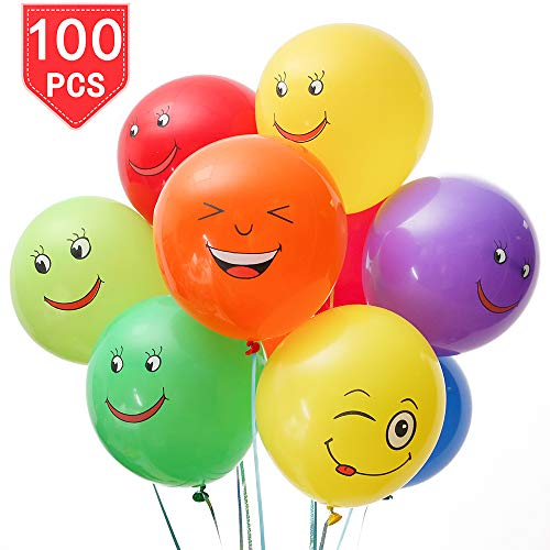 PROLOSO Emoji Smiley Face Latex Balloons with Assorted Colors & Cartoon Patterns for Party Ceremony Decorations Party Favors 12