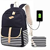 Causal Canvas Stripe Backpack Cute Travel Thickened Canvas School Backpack Laptop Bag Shoulder Daypack Handbag for women Girls