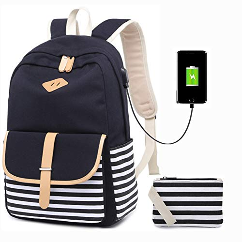 Backpacks For Tweens (Canvas School Backpack USB College Bookbag 15.6 inch Laptop Backpack with USB Charging)