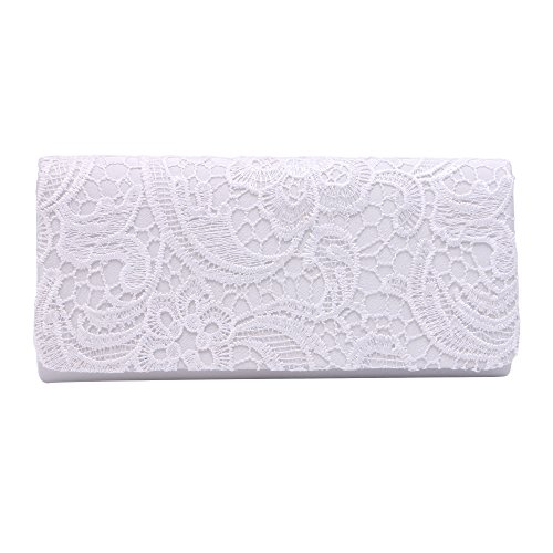 Bag for evening clutch wedding Women White Ladies Zadaro Lace Bridal purse clutch xA4Iqwzg