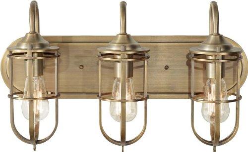 Feiss Urban Renewal Industrial Vintage Wall Vanity Bath Lighting, Brass, 3-Light 21 W x 12 H 300watts