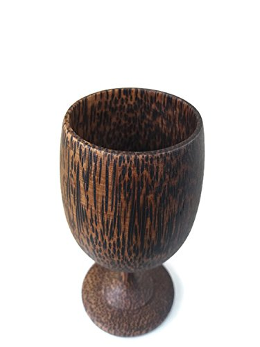 1PCS 5.2''X2'' MUG WINE GLASS SOUVENIR CUP CARVED WOODEN THAI HANDCRAFT PALM WOOD by Amazingonline