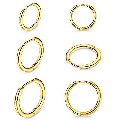 UHIBROS Hoop Earrings- Cartilage Earring Small Hoop Earrings Set for Women Men Girls Hypoallergenic Surgical Steel Huggie Hoop Earrings 3 Pairs (8mm/10mm/12mm)