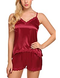 Avidlove Womens 2 Pieces Satin Pajamas Camisole Short Set Irregular Chemise Sleepwear